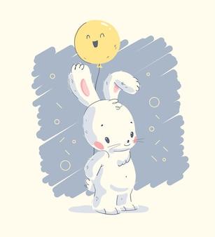 Illustrazione disegnata a mano di vettore con il piccolo coniglio sveglio del bambino tenere l'aerostato isolato. per adorabili biglietti di auguri di buon compleanno, stampe per bambini, poster per feste di baby shower, etichette regalo, striscioni, adesivi, inviti.