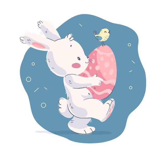 Illustrazione disegnata a mano di vettore con simpatico coniglietto e uccellino con uovo di pasqua. per congratulazioni di buona pasqua, biglietto adorabile per festa di baby shower, stampa di compleanno, poster, tag, banner, adesivo