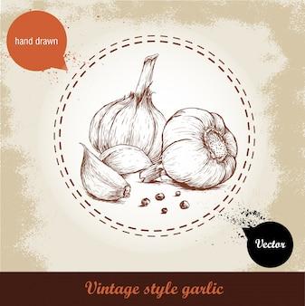 Illustrazione disegnata a mano di vettore con spicchi di aglio e pepe nero isolato Vettore Premium