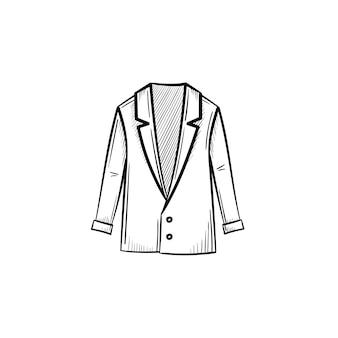 Icona di doodle di contorno giacca disegnata a mano di vettore. illustrazione di schizzo di giacca per stampa, web, mobile e infografica isolato su sfondo bianco.