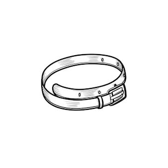 Icona di doodle di contorno di cintura in pelle disegnata a mano di vettore. illustrazione di schizzo di cintura in pelle per stampa, web, mobile e infografica isolato su sfondo bianco.