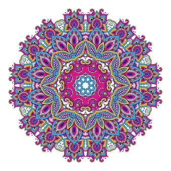 Reticolo della mandala disegnato a mano di vettore degli elementi floreali del hennè basati sugli ornamenti asiatici tradizionali. illustrazione di paisley mehndi tattoo doodle in colori vivaci