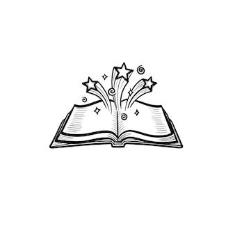 Libro magico aperto disegnato a mano di vettore con icona di doodle di contorno di stelle