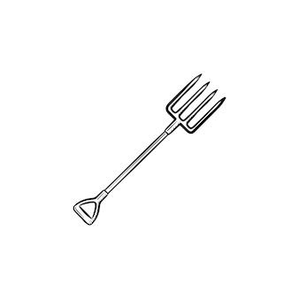 Icona di doodle di contorno di forcone disegnato a mano di vettore. illustrazione di schizzo di forcone per stampa, web, mobile e infografica isolato su sfondo bianco.