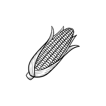 Icona di doodle di vettore disegnato a mano popcorn pannocchia di mais. illustrazione di schizzo di cibo per stampa, web, mobile e infografica isolato su sfondo bianco.