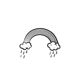 Arcobaleno disegnato a mano di vettore e nuvole di pioggia delineano icona di doodle