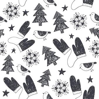 Reticolo di inverno di natale senza giunte disegnato a mano di vettore, sfondo. fiocchi di neve, uccelli, guanti, stelle, illustrazione di alberi di natale. bianco e nero