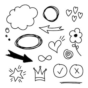 Elementi di set disegnati a mano di vettore. bolla, stella, freccia, cuore, amore, fiore, corona, re, regina, turbinio, simbolo dell'infinito, cuore, per il concept design.
