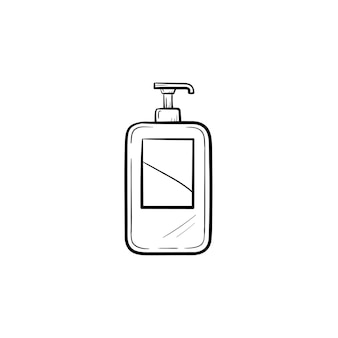 Icona di doodle di contorno shampoo disegnato a mano di vettore. illustrazione di schizzo di shampoo per stampa, web, mobile e infografica isolato su sfondo bianco.