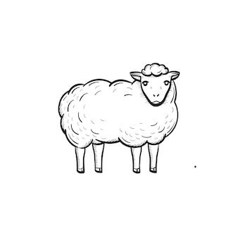 Icona di doodle di contorno di pecore disegnato a mano di vettore. illustrazione di schizzo di pecora per stampa, web, mobile e infografica isolato su sfondo bianco.