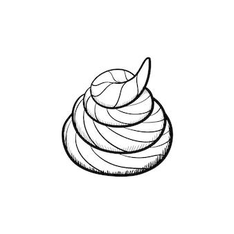 Icona di doodle di contorno di merda disegnata a mano di vettore