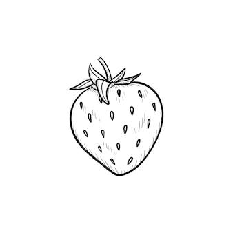 Icona di doodle di contorno di fragola disegnato a mano di vettore. illustrazione di schizzo di fragola per stampa, web, mobile e infografica isolato su sfondo bianco.