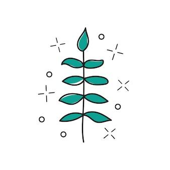 Ramoscello disegnato a mano di vettore - pianta stilizzata, pennellate, elemento di design, stampa - disegno di illustrazione vettoriale - stampa di t-shirt grafica tessile