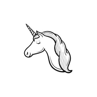 Testa di unicorno disegnata a mano di vettore con icona di doodle di contorno di corno