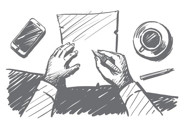 Schizzo di concetto di tempo di lavoro disegnato a mano di vettore con le mani dell'uomo d'affari sopra il desktop prendendo appunti sul taccuino di carta