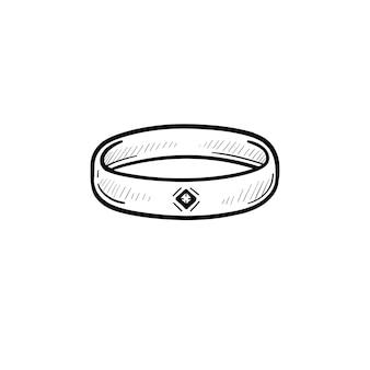 Icona di doodle di contorno di polsino disegnato a mano di vettore. illustrazione di schizzo di bracciale in metallo per stampa, web, mobile e infografica isolato su sfondo bianco.
