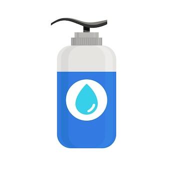 Dispenser di disinfettante per le mani con gel disinfettante per le mani vettoriale con gel di alcol che uccide i batteri