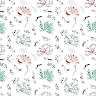 Reticolo senza giunte infantile disegnato a mano di vettore con pavone e floreale su sfondo bianco