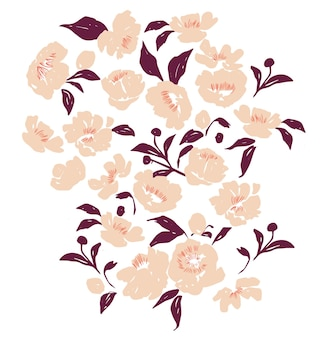 Vettore disegnato a mano fiori illustrazione risorsa grafica struttura naturale schizzo disegno a colori