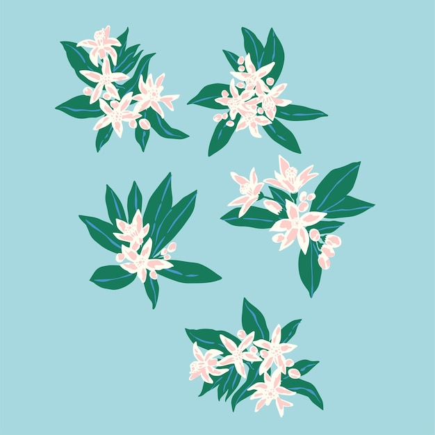 Risorsa grafica vettoriale disegnato a mano piccolo fiore e foglia illustrazione motivo file digitale opera d'arte