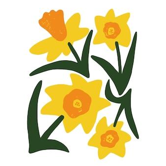 Risorsa grafica dell'illustrazione del fiore sveglio di stile scandinavo giallo e arancione disegnato a mano di vettore