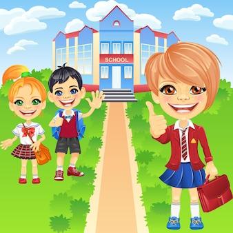 Vector sorridenti scolari ragazze e ragazzo