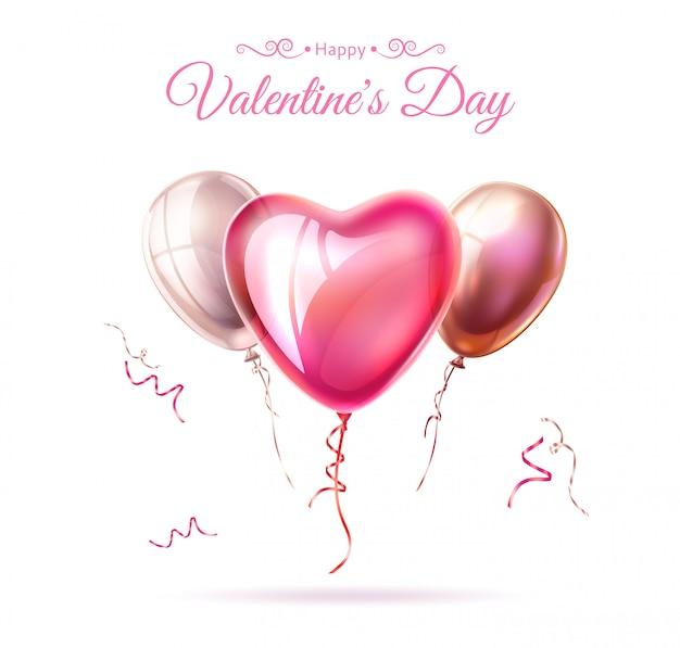 Nastro felice del pallone del cuore di giorno di s. valentino di vettore