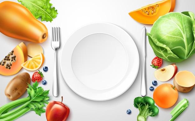 Vector cibo sano, frutta biologica al tavolo servito