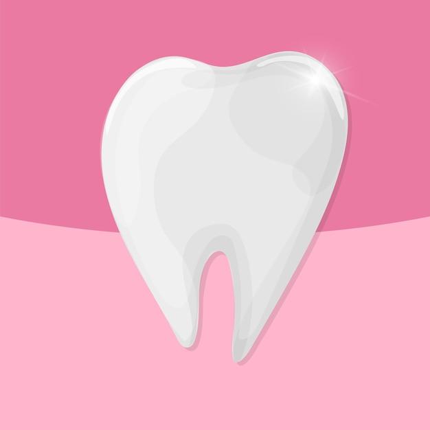 Vector sano dente lucido su sfondo rosa - illustrazione medica - cure odontoiatriche
