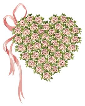 Cuore di vettore fatto di fiori vittoriani e fiocco rosa