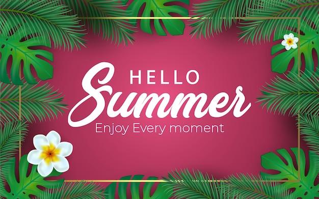 Illustrazione vettoriale ciao estate con lettera tipografica e foglie di palma tropicale