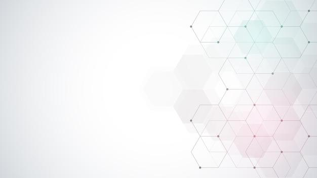 Reticolo di esagoni di vettore. fondo astratto geometrico con semplici elementi esagonali. design medico, tecnologico o scientifico.