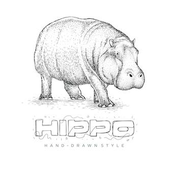 Vettore ippopotamo è in esecuzione, logo animale disegnato a mano