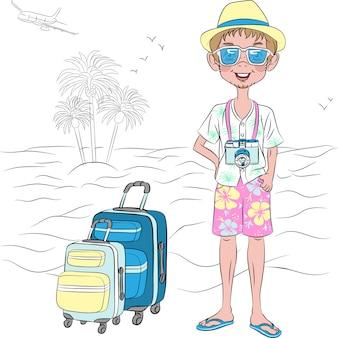 Ragazzo di viaggiatore hipster vettoriale con valigie sulla spiaggia del mare