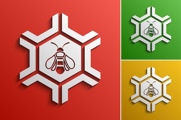 Vector honey bee logotipo modello di progettazione, idea logo aziendale stilizzato