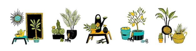 Piante da appartamento vettoriali ed elementi di arredamento per la casa. collezione di piante in vaso disegnate a mano. set di cactus, libreria, cestino, roba da giardino, albero di limoni.
