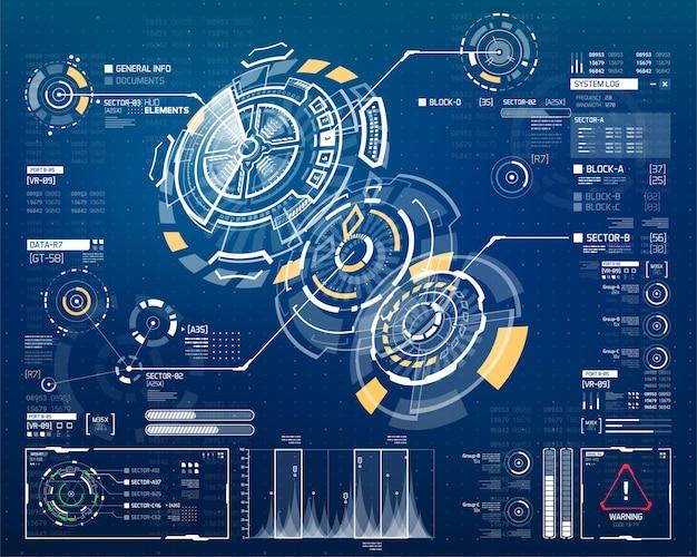Insieme di elementi di hud di vettore per l'interfaccia utente futuristica
