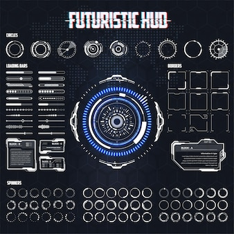 Insieme di elementi hud di vettore per l'interfaccia utente futuristica