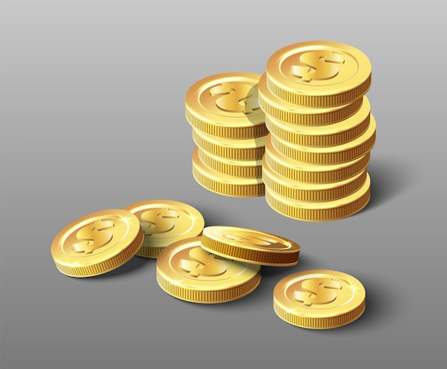 Icona vettoriale di mucchio dorato di monete