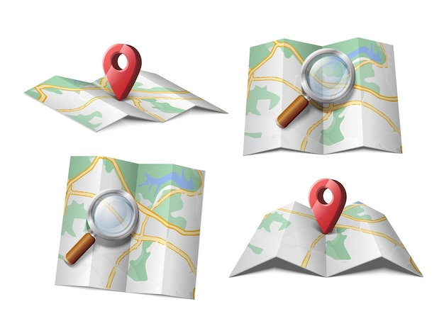 Icona vettoriale della mappa con lente di ingrandimento o freccia rossa gps