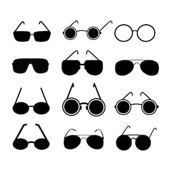 Oculare icone vettoriali. sagome di colore nero.