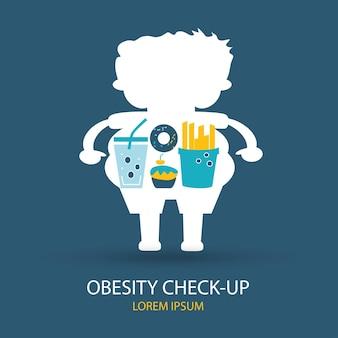 Icone vettoriali in design piatto concetto di cibo spazzatura obesità e salute con elementi