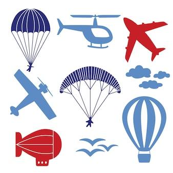 Icone vettoriali con aeroplani, elicotteri, paracadute, mongolfiere, dirigibili tra le nuvole