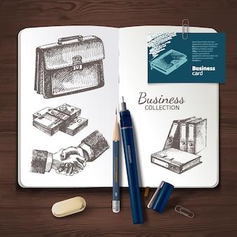 Identità di vettore impostata su fondo di legno. marchio, visualizzazione, set di attività aziendali. modello di progettazione e illustrazioni aziendali di schizzo disegnato a mano per presentazioni e portfolio di grafici