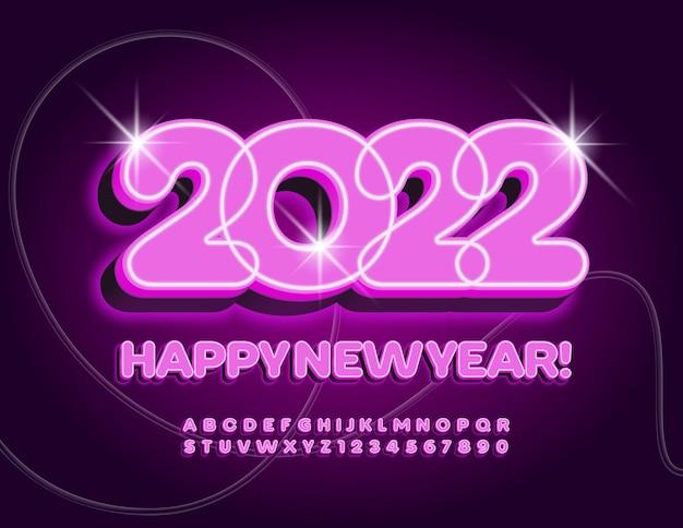 Cartolina d'auguri illuminata vettoriale 2022 luce rosa font set incandescente di lettere e numeri dell'alfabeto