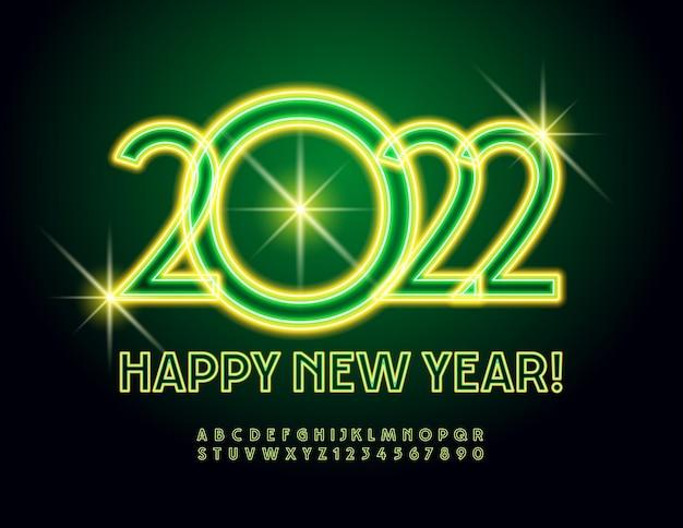 Cartolina d'auguri illuminata vettoriale felice anno nuovo 2022 luce incandescente alfabeto lettere e numeri