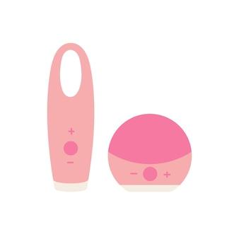 Spazzola per la pulizia del viso di illustrazione vettoriale. dispositivo cosmetico per la cura del viso, scrub, esfoliante, rimozione di punti neri, massaggio.