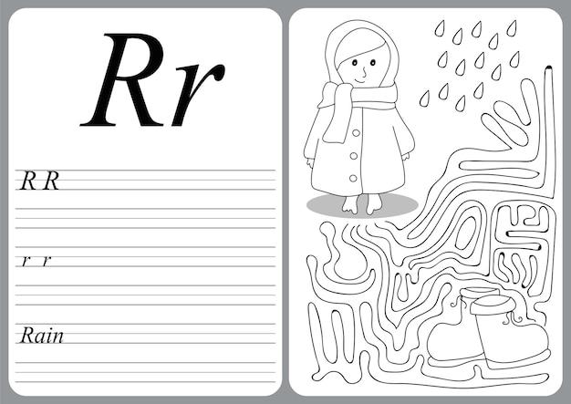 Alfabeto illustrato vettoriale con gioco educativo per bambini per imparare la scrittura a mano con livello di gioco facile per bambini in età prescolare r - pioggia