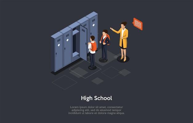 Illustrazione di vettore. composizione 3d, design isometrico in stile cartone animato. liceo, gruppo di persone. due studenti maschi con zaini, insegnante che parla con loro, armadietti personali privati vicino