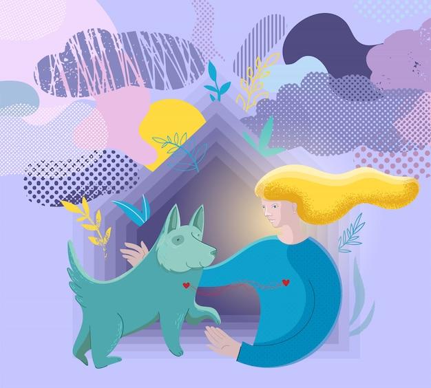 Illustrazione vettoriale sull'amicizia tra cane e ragazza.